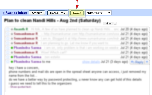 how to delete one email from a thread gmail